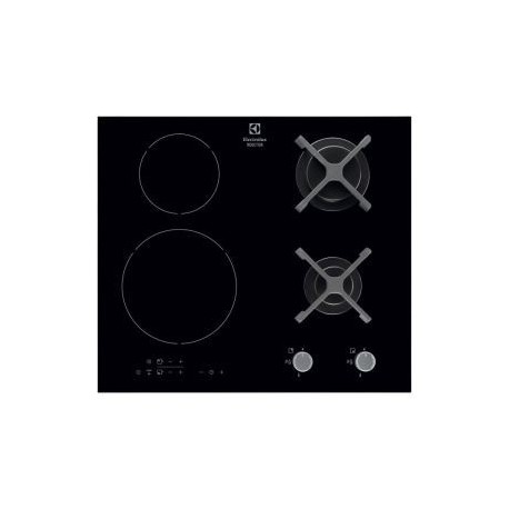 plaque mixte electrolux 2 gaz 2 induction 3700w noir ged planet menager. Black Bedroom Furniture Sets. Home Design Ideas