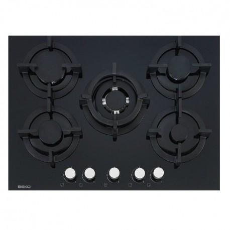 plaque gaz verre beko 70 cm 5g dont 1 wok noir ged planet menager. Black Bedroom Furniture Sets. Home Design Ideas