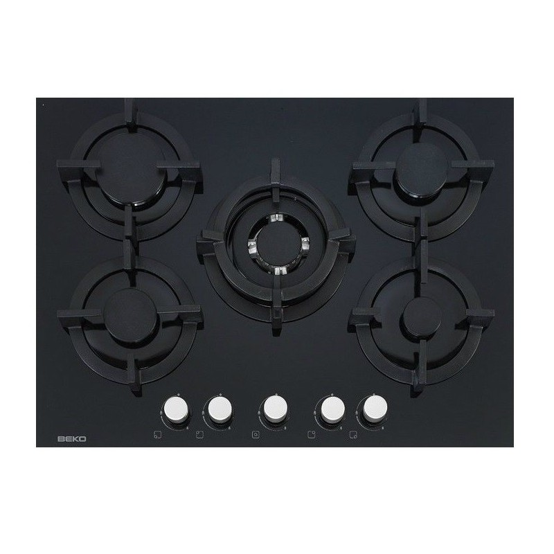 plaque gaz verre beko 70 cm 5g dont 1 wok noir ged. Black Bedroom Furniture Sets. Home Design Ideas