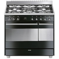 CENTRE DE CUISSON 5 GAZ SMEG CATALYSE INOX NOIR BRILLANT A++