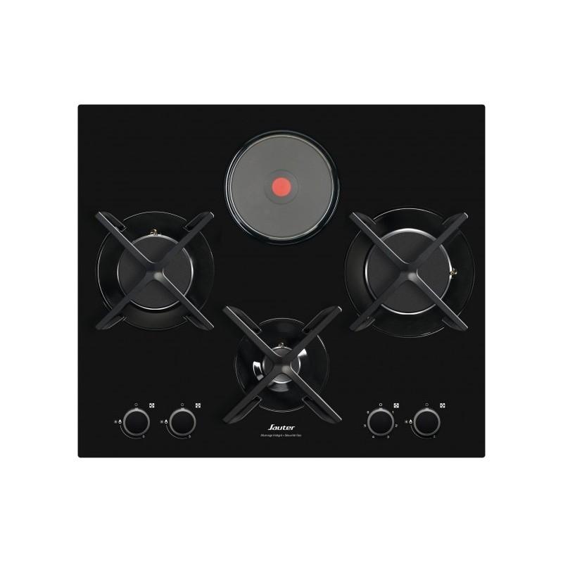 Plaque mixte sauter verre 3 gaz 1 electrique noire ged - Table de cuisson mixte sauter ...