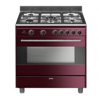 CENTRE DE CUISSON 5 GAZ FOUR 115L VAPORCLEAN A BORDEAU