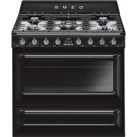 CENTRE DE CUISSON SMEG 5 GAZ FOUR 115L CATALYSE+VAPORCLEAN A NOIR